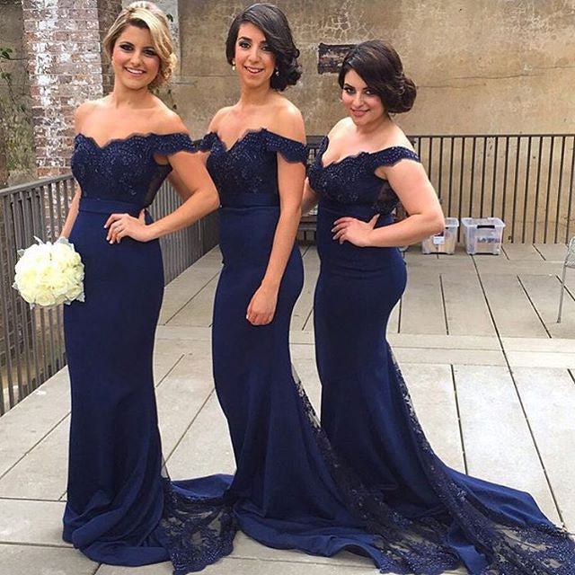 Elegant Off the Shoulder Lace Wedding Party Dress