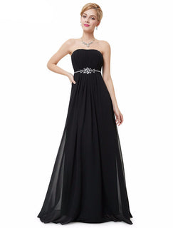 Elegal Strapless Chiffon Evening Dress