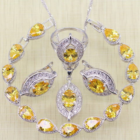 Sterling Silver Yellow Stone Jewelry Set