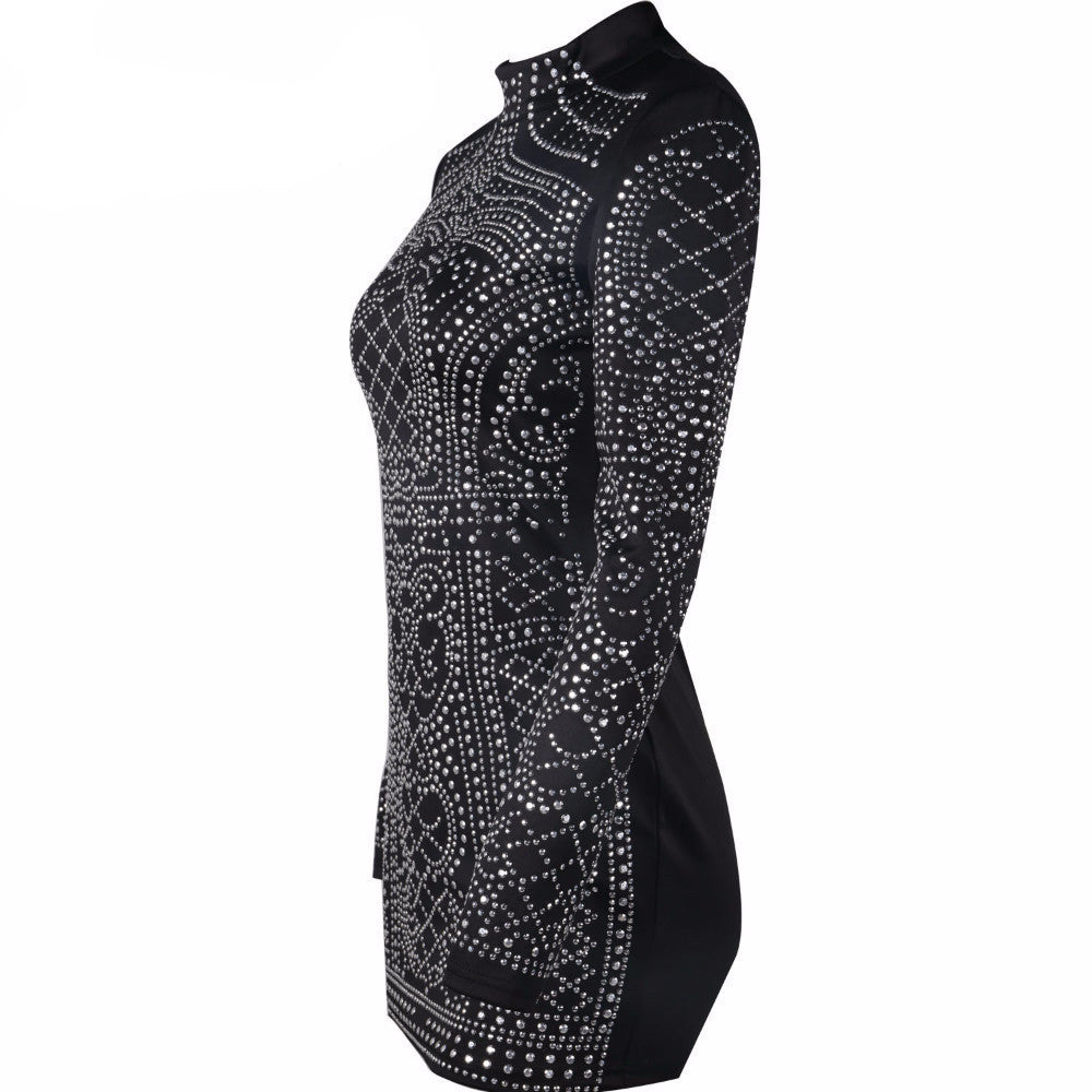 Retro Rhinestone Bodycon Dress