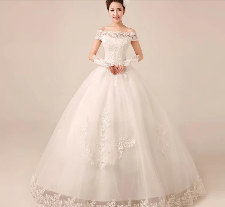 Short Sleeve Court Train Ivory Wedding Dress