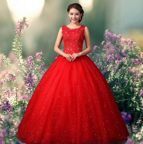 Red Floor Length Evening Gown