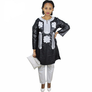 African Bazin Embroidery Design Top /with Pants