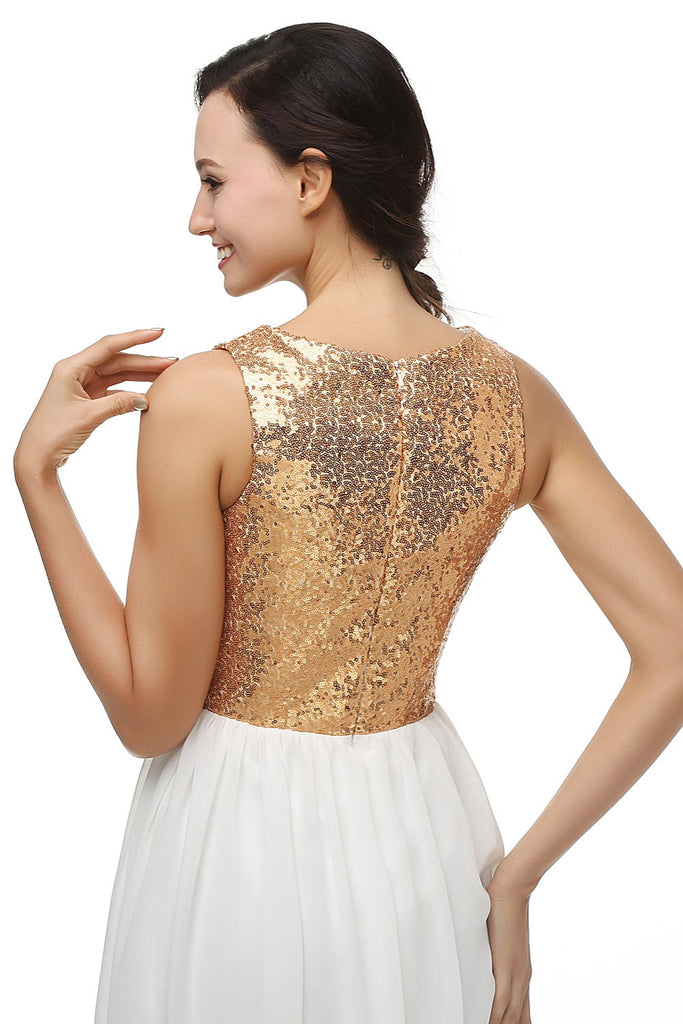 Gold Sequined Chiffon Evening Dress