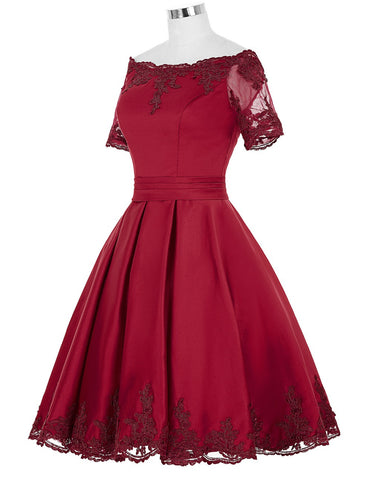 Champagne/Dark Red Cocktail Dress