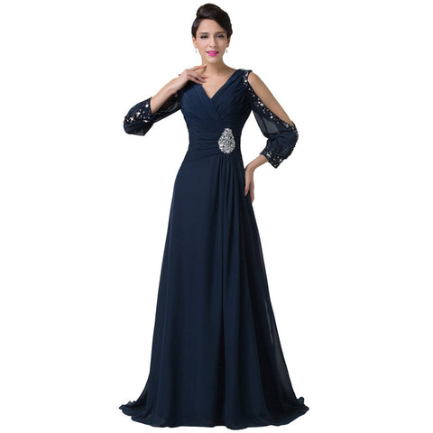 Floor Length Long Sleeve Evening Dress