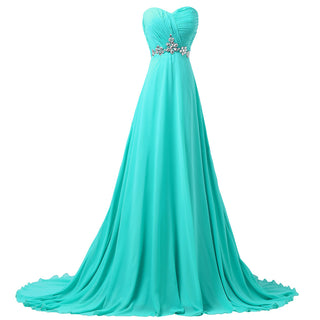 Chiffon Formal Turquoise Evening Gown