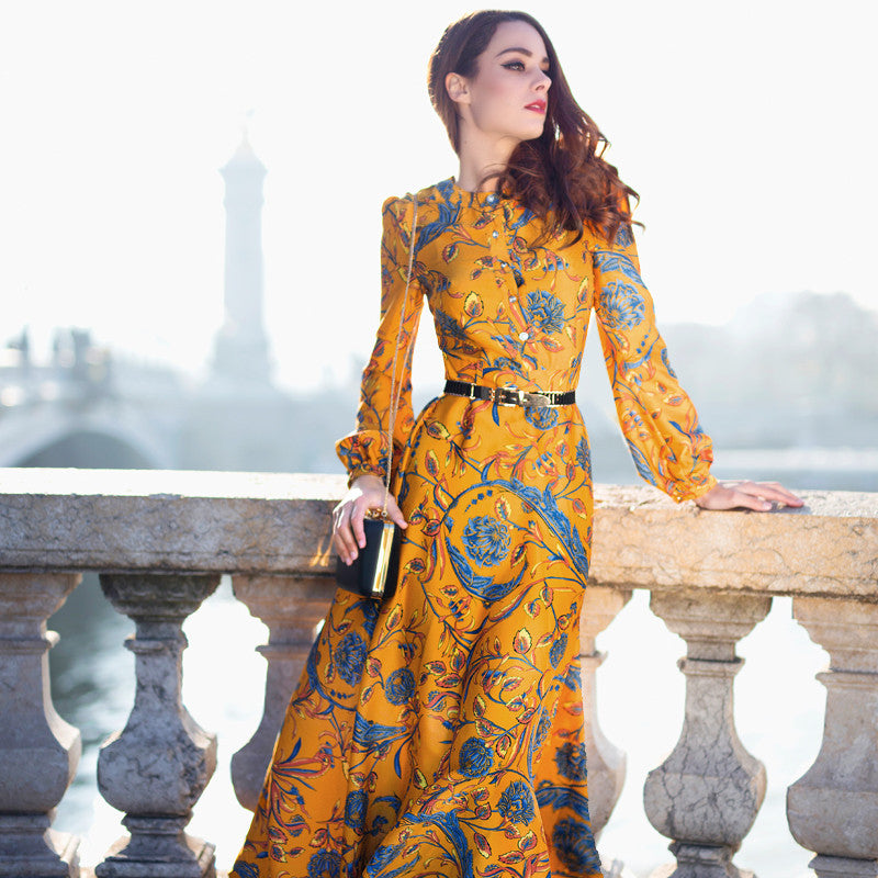 Long Sleeve Yellow Floral Print Dress