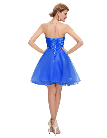 Blue Strapless Cocktail Dress