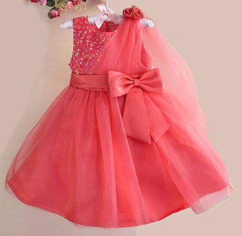 Toddlers Wedding Gown Watermelon Red