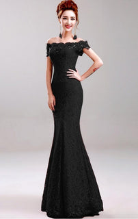 Elegant Beaded Lace Mermaid Evening Dress