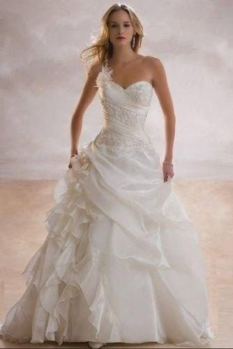 A line One Shoulder Floor Length Wedding Dress