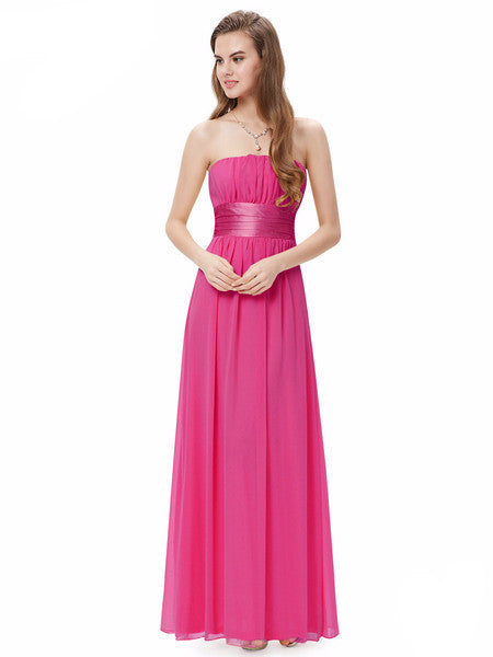 Long Bridesmaid Dress w/Chiffon Bow