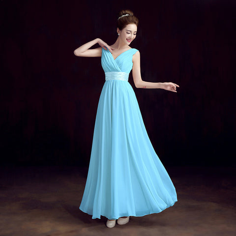 Double-Shoulder Pleat Chiffon Evening Dress