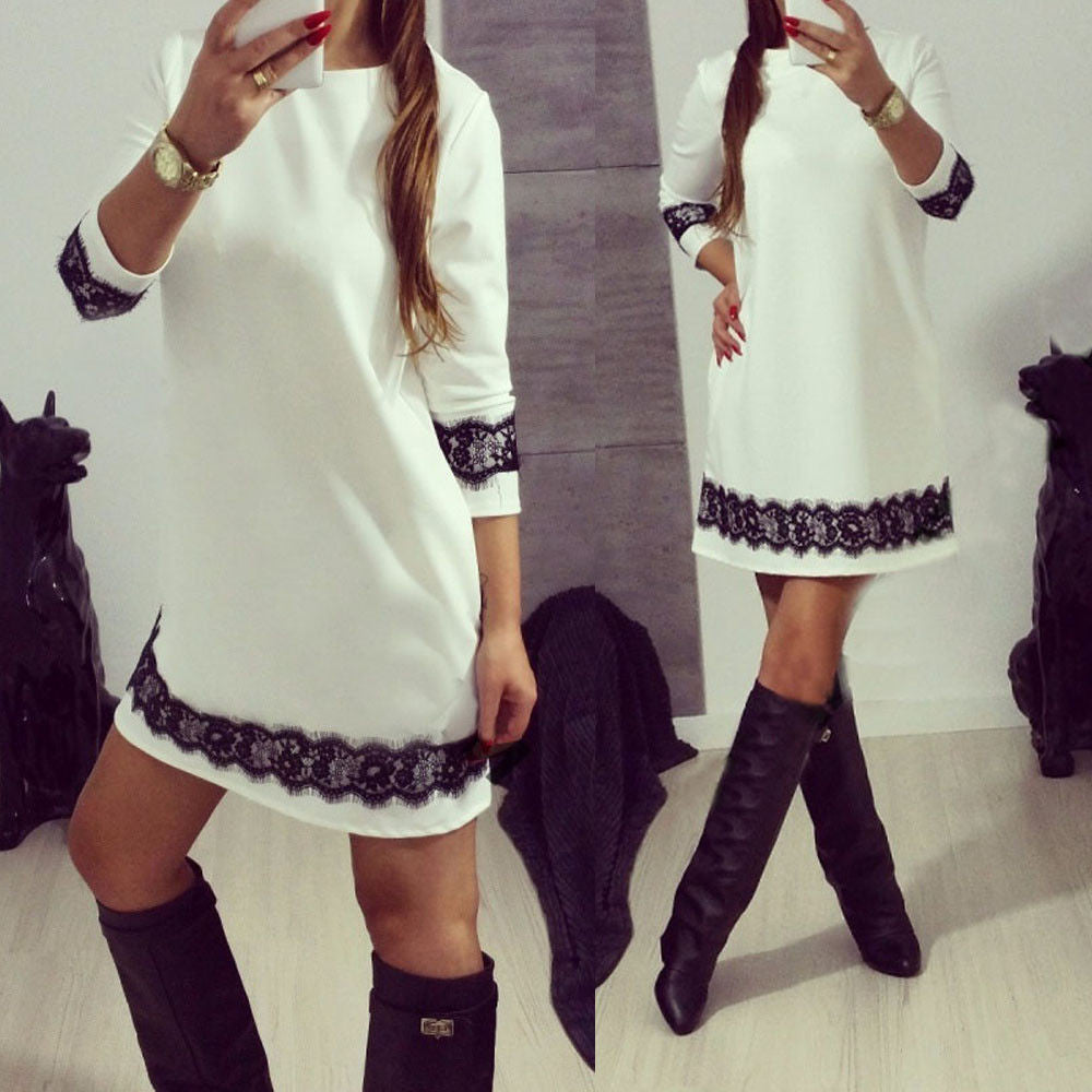 3/4 Sleeve Lace Trimming Casual Dress