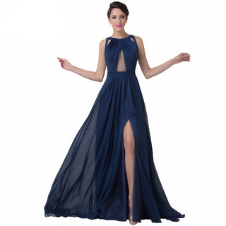 Navy Blue Backless Evening Dress