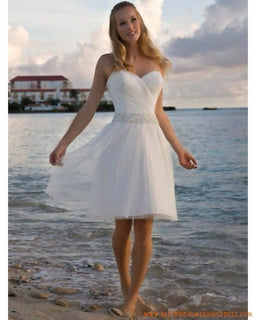 A-line Short Knee Length Beaded Chiffon Reception Dress