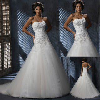 Lace Wedding Dress w/ Strapless Tulle