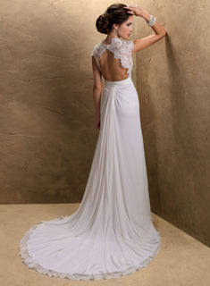 Beaded Lace Cap Sleeve Wedding/Reception Dress