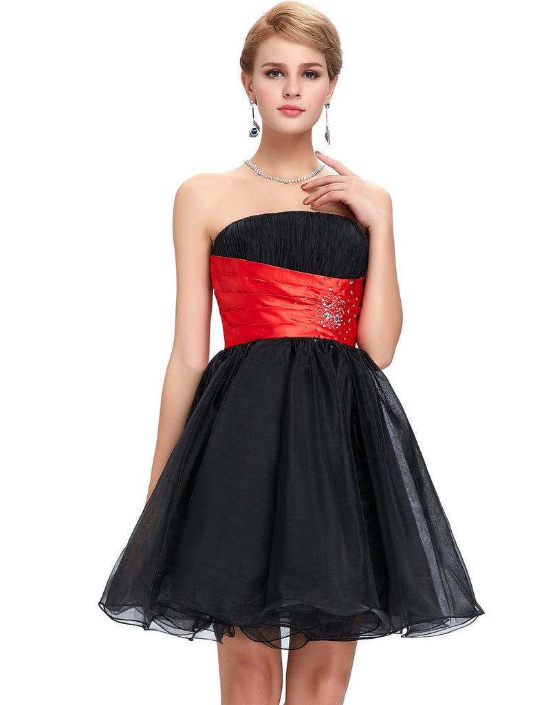 Red and Black Strapless Cocktail Dress | Dress images