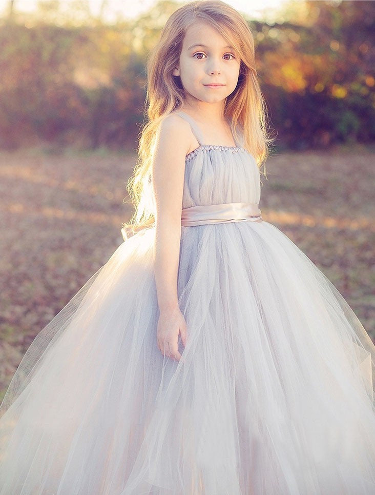 Tulle Baby Flower Girl Dress Gray
