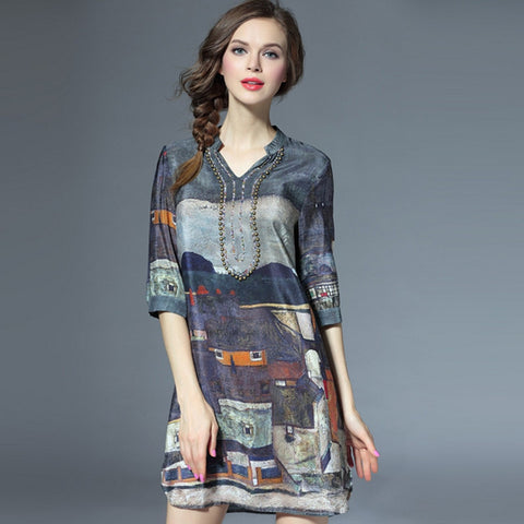 Elegant Silk Print 3/4 Sleeve Day Dress