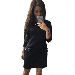 3/4 Sleeves Bow Mini Dress