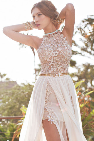 Lace Beaded Backless Wedding Dress