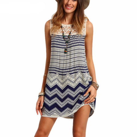 Striped Sleeveless Shift Dress