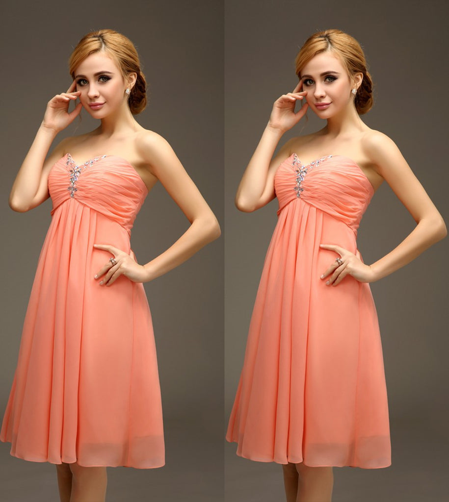 Short Knee Length Coral Empire Maternity Bridesmaids Dress