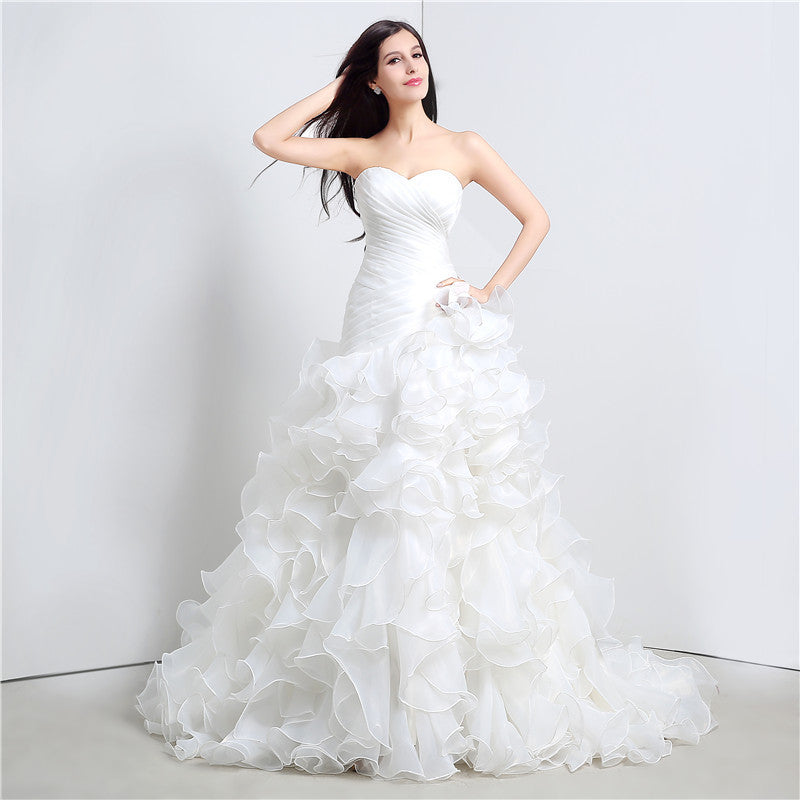 Mermaid Wedding Dress w/ Sweetheart Cascading Ruffles