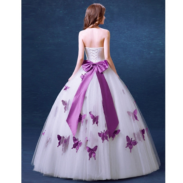 Strapless Pearl Purple Butterfly Princess Dress