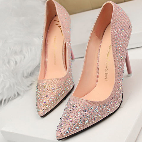 Rhinestone Platform Wedding Pumps