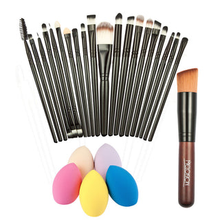 20pcs Makeup Brushes + Powder Foundation Brush + Sponge Puff  Makeup Toiletry Tool Kit