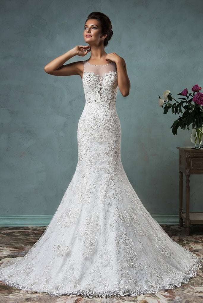 Romantic Wedding Dress w/ Sweep Train