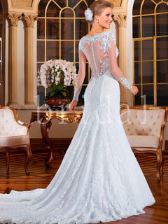 See Through Back Mermaid Wedding Dress