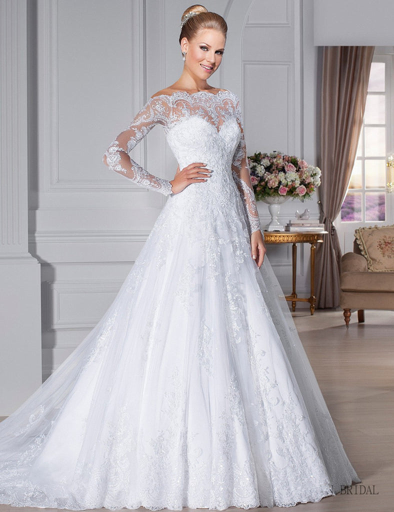 Long Sleeve Scoop See Through Back Lace Wedding Dress