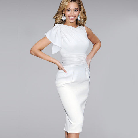 Elegant Ruffle Sleeve Work Dress