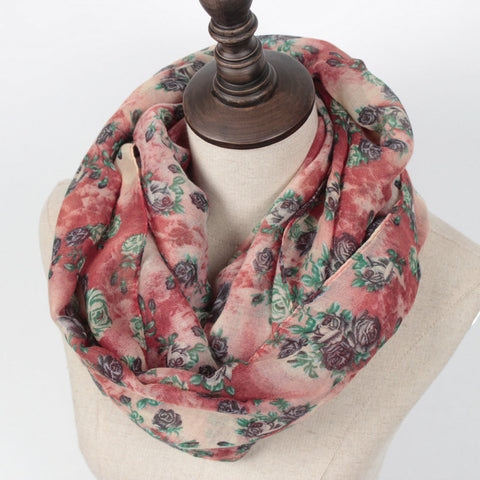 Warm Rose Print Ring Scarf
