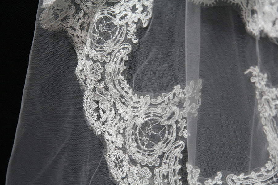 White/Ivory Lace Edge Wedding Veil