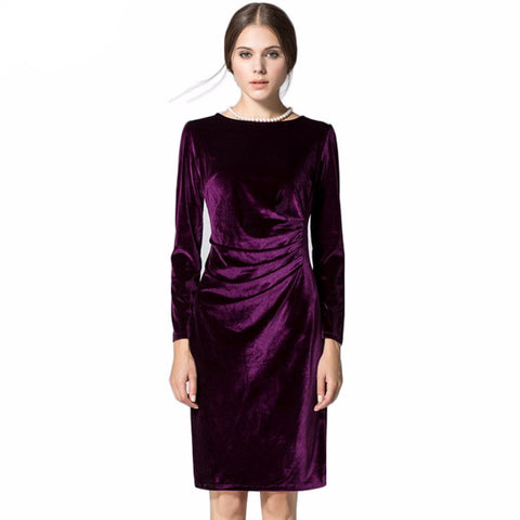 Velvet Long Sleeve Shift Dress
