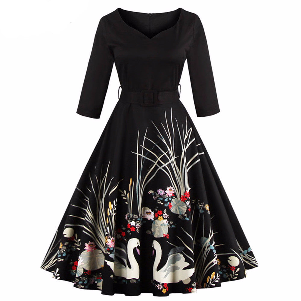 Elegant Black Swan Print 50's Vintage Dress