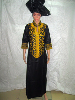 African Bazin Embroidery Dress /without  Scarf