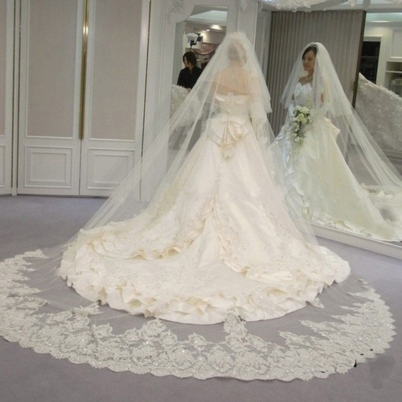 3 Meter White/Ivory Sparkling Lace Edge Wedding Veil