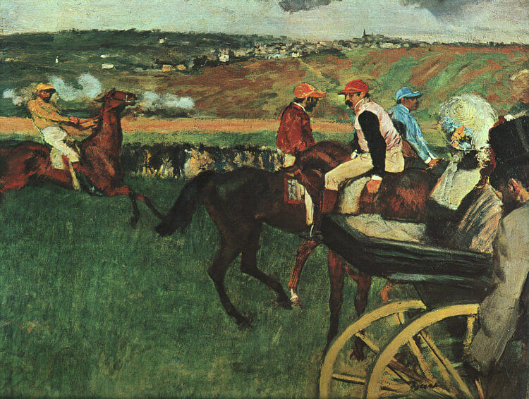 At the Races, 1877–1880, oil on canvas, by Edgar Degas, Musée d'Orsay, Paris