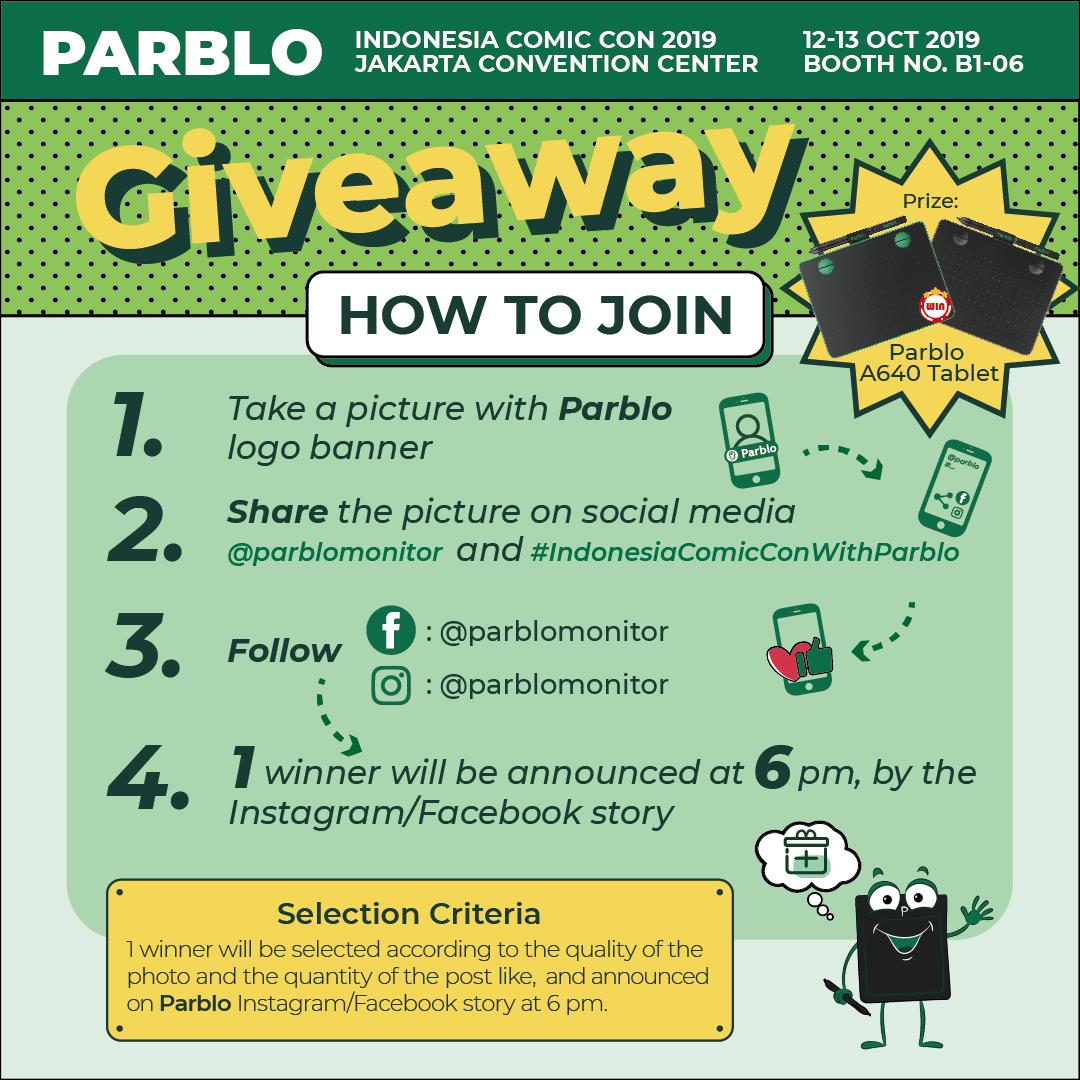 parblo indonesia comiccon giveaway rules