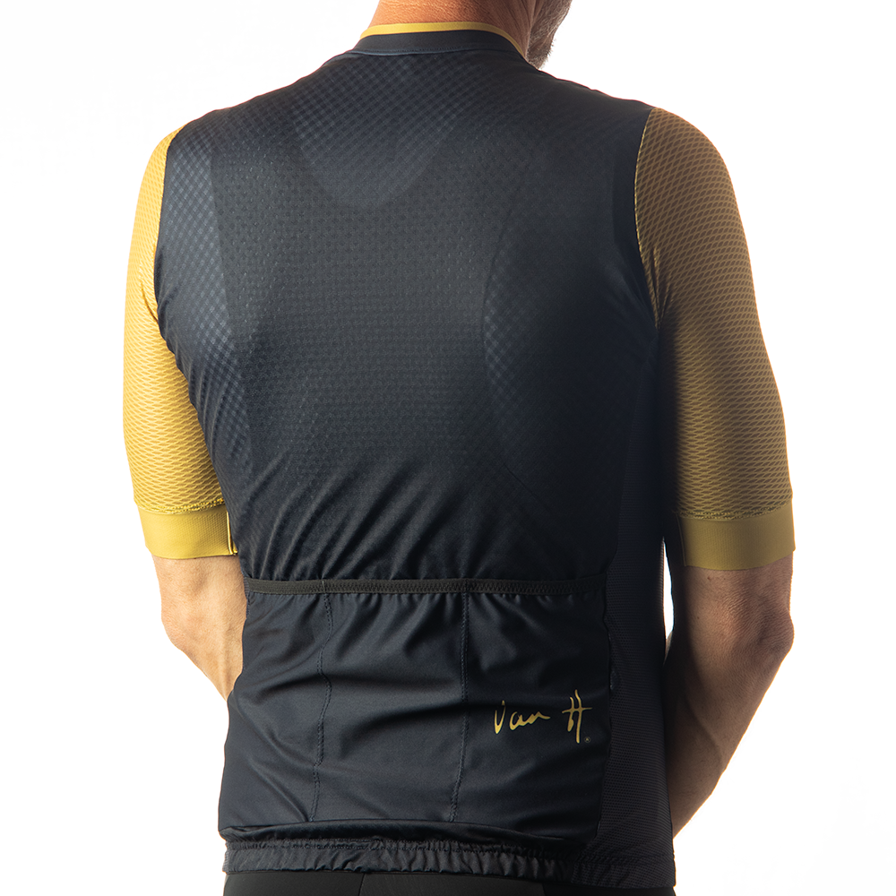 Navy and Gold Retro cut cycling jersey