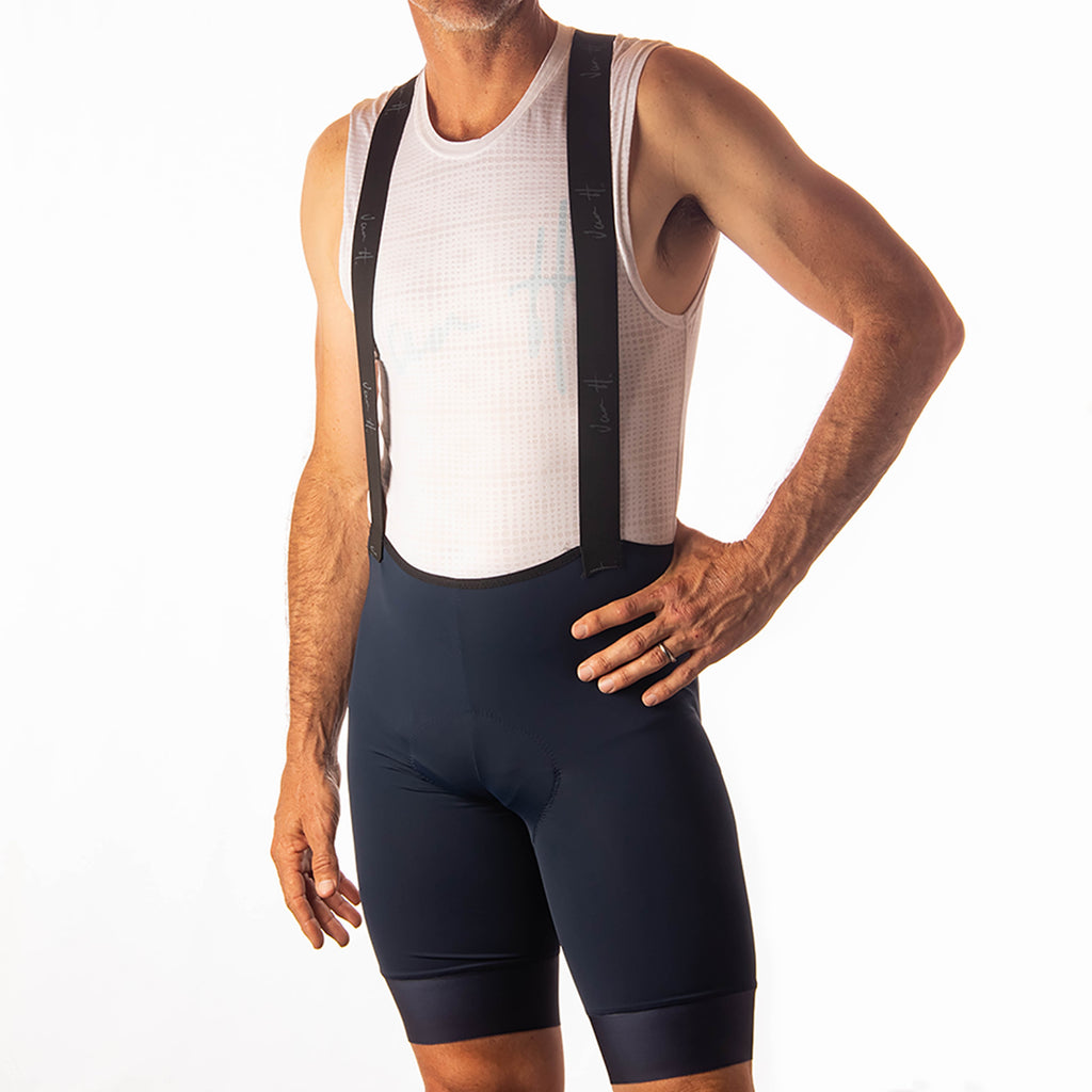 VanH Mens Navy bib Road cycling bib comfortable top of the range bib south african brand custom length artisan cycling warehouse pretoria quick delivery high quality italian fabric elastic interface excellent pad long rides over 7 hours