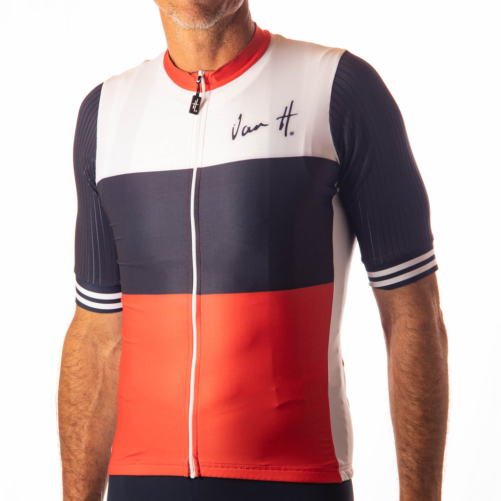 Men's White Navy Red stripe jersey