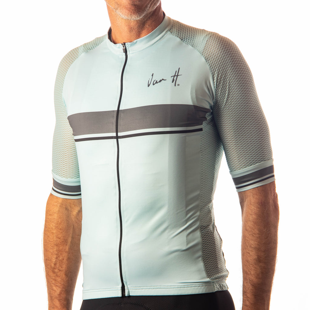 Men's Aqua Charcoal Stripe jersey